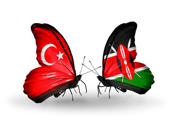 Two butterflies with flags Turkey and Kenya