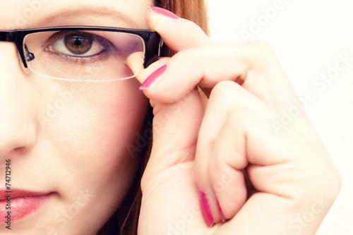canvas print picture Frau mit Brille