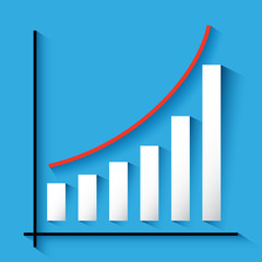 3D statistics red growing up success arrow and upstairs steps