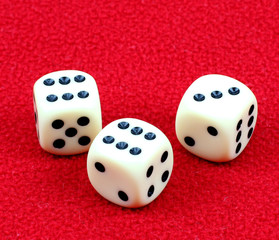 dice on a red background