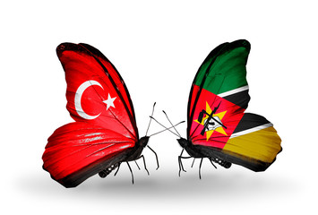 Two butterflies with flags Turkey and  Mozambique