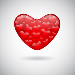 A red heart icon, a lot of hearts in one heart