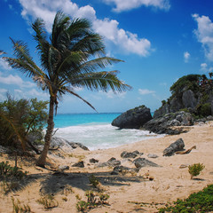 Beach at Tulum ruins in Mexico