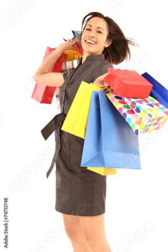 canvas print picture Frau mit Einkaufstüten in der Hand