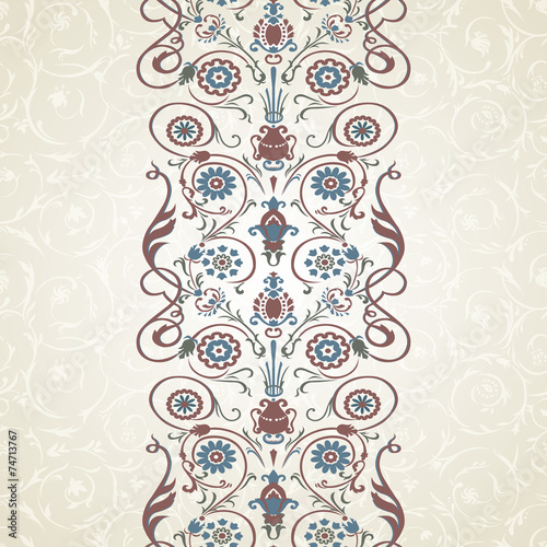 Floral border on seamless background. - 74713767