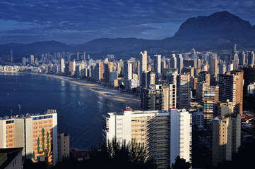 Benidorm Aerial View in the Morning, Costa Blanca, Spain