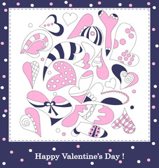 Hearts of different forms - postcard (violet-pink)