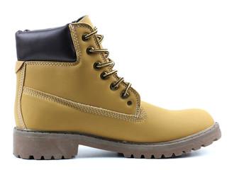 Yellow leather stylish shoes isolated on white background.
