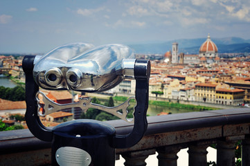 Touristic telescope with Cathedral, Florence