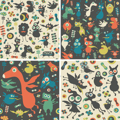 Set of seamless patterns with happy monsters.