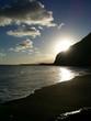 canvas print picture - Sonnenuntergang am Meer im Hintergrund die Insel Teneriffa