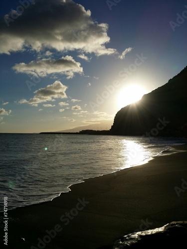 canvas print picture Sonnenuntergang am Meer im Hintergrund die Insel Teneriffa