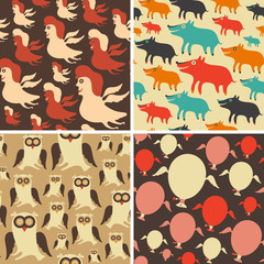 Set of colorful seamless patterns. Clowns. Dogs. Owls. Balloons.