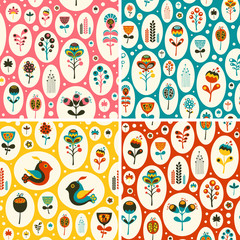 Set of seamless patterns with flowers and birds in snowballs.