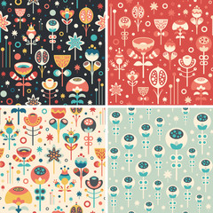 Set of seamless patterns with colorful Christmas flowers.