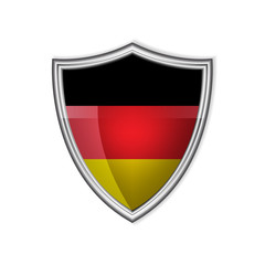 German glossy label or badge on a clean background