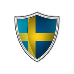 Swedish glossy label or badge on a clean background