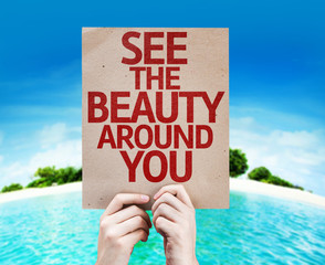 See The Beauty Around You card with a beach