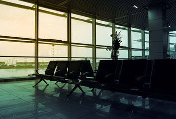 Empty airport hall. Morning view of departure room of terminal