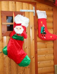 socks hung to receive gifts from Befana and Santa Claus