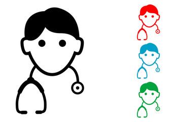 Pictograma icono doctor con varios colores
