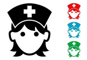 Pictograma icono enfermera con varios colores