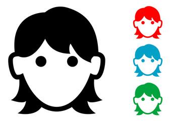 Pictograma icono mujer con varios colores