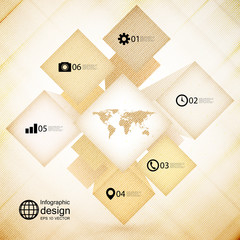 infographic cube box for business concepts, wooden design