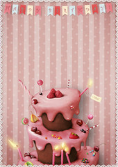 Greeting card or poster to celebrate with cake