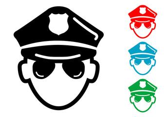 Pictograma icono policia con varios colores