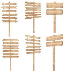 Set of brown wooden signpost