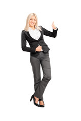 Businesswoman giving a thumb up