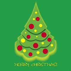 Christmas card with fir tree, vector illustration
