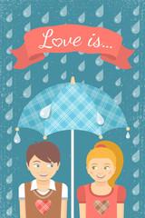 Boy and girl in love under checkered umbrella