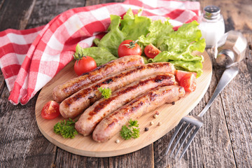 grilled sausage on board
