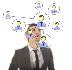 Businessman with online friends network isolated