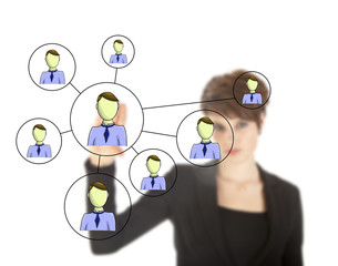 Businesswoman with online friends network isolated