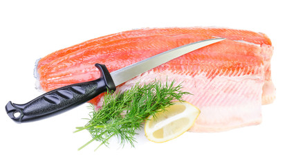 Trout fish fillet with knife isolated on a white background
