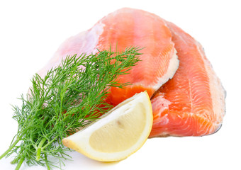 Salmon fish fillet isolated on a white background