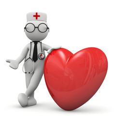 omino bianco medico con cuore