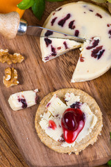 top view on oatcake with stilton cheese and cranberry