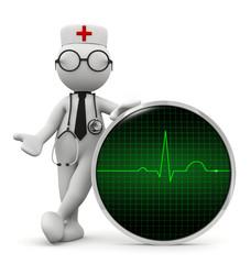 omino bianco medico con monitor ECG