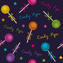Seamless pattern candy pops