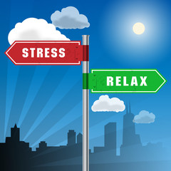 Road sign with words Stress, Relax, vector