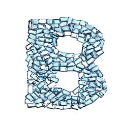 b lettera zaffiro blu azzurro gemme 3d, sfondo bianco