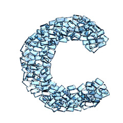 c lettera zaffiro blu azzurro gemme 3d, sfondo bianco