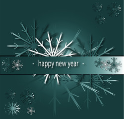 happy new year christmas card with snow flakes