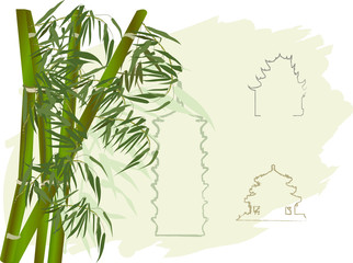 green bamboo and pagoda outlines