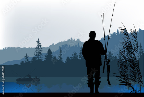 fisherman silhouette at morning - 74720983