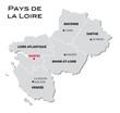 Постер, плакат: simple administrative map of pays de la loire
